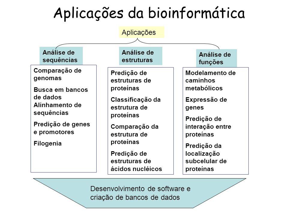 Aplicações da bioinformática Aplicações Análise de estruturas Análise de sequências Análise de funções Predição de estruturas de proteínas Classificaç