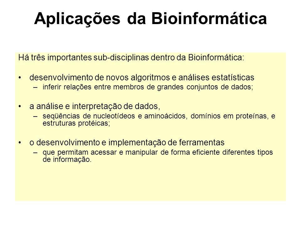 Aplicações da Bioinformática Há três importantes sub-disciplinas dentro da Bioinformática: desenvolvimento de novos algoritmos e análises estatísticas