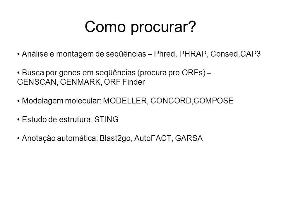 Como procurar? Análise e montagem de seqüências – Phred, PHRAP, Consed,CAP3 Busca por genes em seqüências (procura pro ORFs) – GENSCAN, GENMARK, ORF F