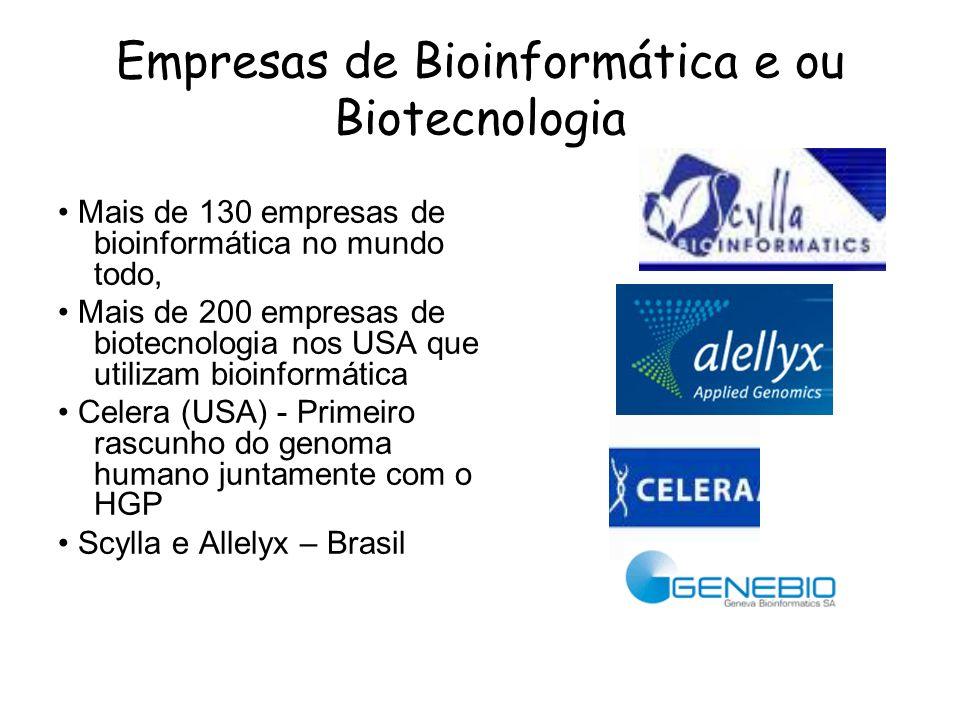 Empresas de Bioinformática e ou Biotecnologia Mais de 130 empresas de bioinformática no mundo todo, Mais de 200 empresas de biotecnologia nos USA que
