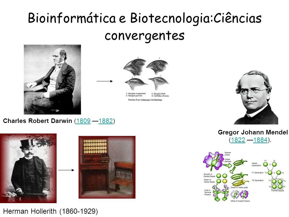 Gregor Johann Mendel (1822 1884).18221884 Bioinformática e Biotecnologia:Ciências convergentes Charles Robert Darwin (1809 1882)18091882 Herman Holler
