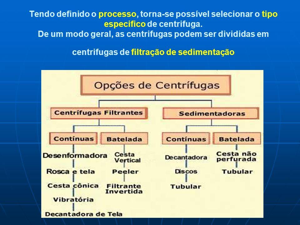 Tendo definido o processo, torna-se possível selecionar o tipo especifico de centrifuga. De um modo geral, as centrifugas podem ser divididas em centr