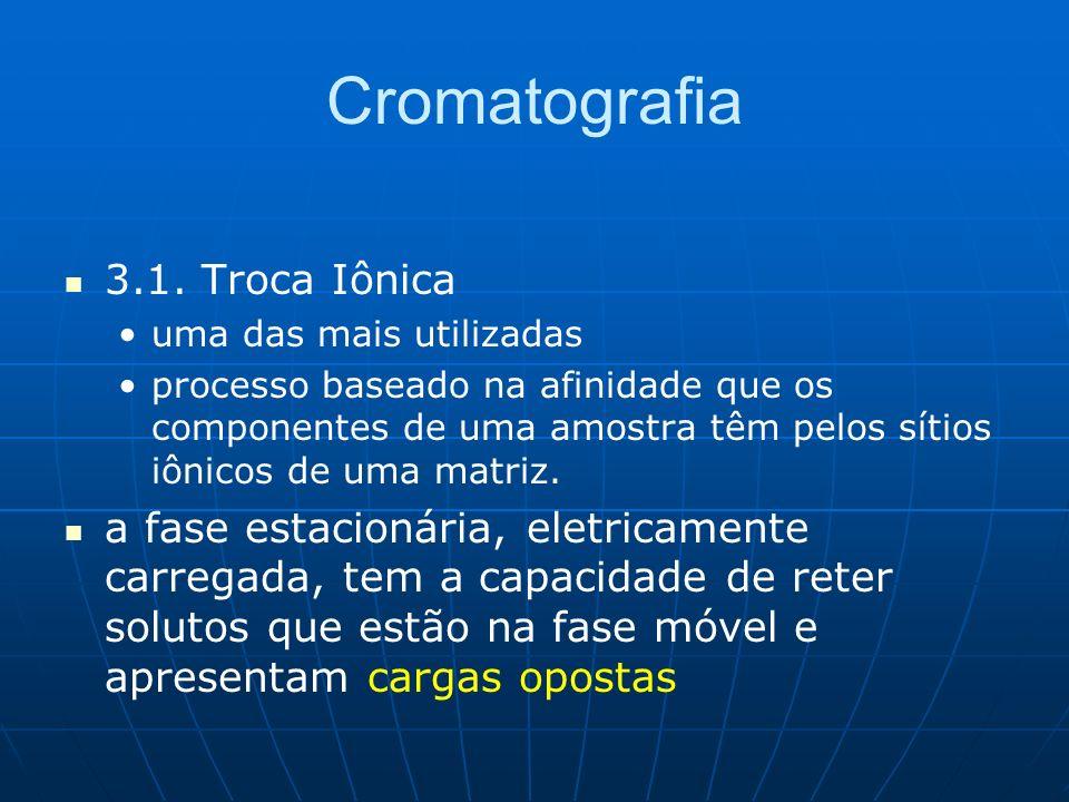 Cromatografia 3.1. Troca Iônica uma das mais utilizadas processo baseado na afinidade que os componentes de uma amostra têm pelos sítios iônicos de um