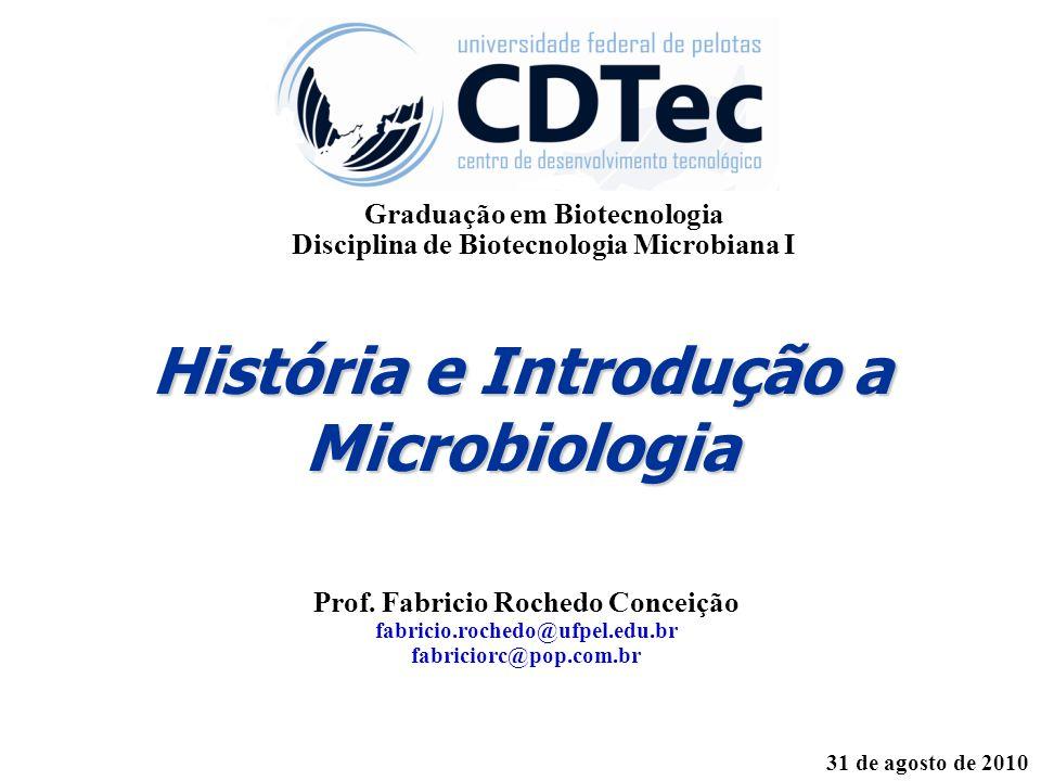 História e Introdução a Microbiologia Prof. Fabricio Rochedo Conceição fabricio.rochedo@ufpel.edu.br fabriciorc@pop.com.br 31 de agosto de 2010 Gradua