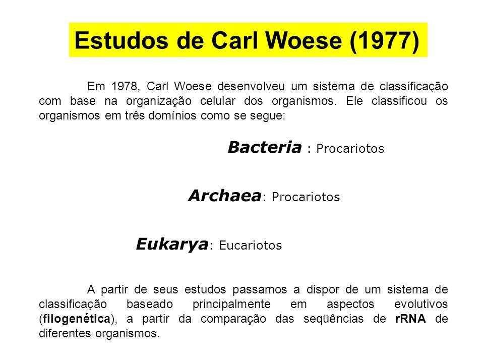 Em 1978, Carl Woese desenvolveu um sistema de classificação com base na organização celular dos organismos. Ele classificou os organismos em três domí