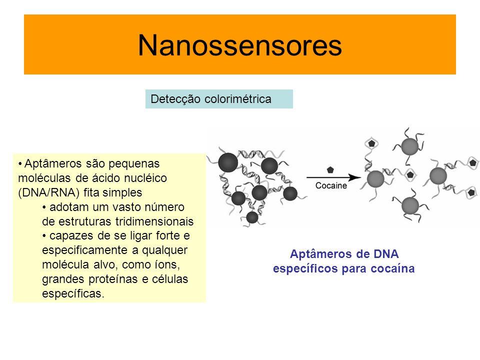 Aptâmeros são pequenas moléculas de ácido nucléico (DNA/RNA) fita simples adotam um vasto número de estruturas tridimensionais capazes de se ligar for