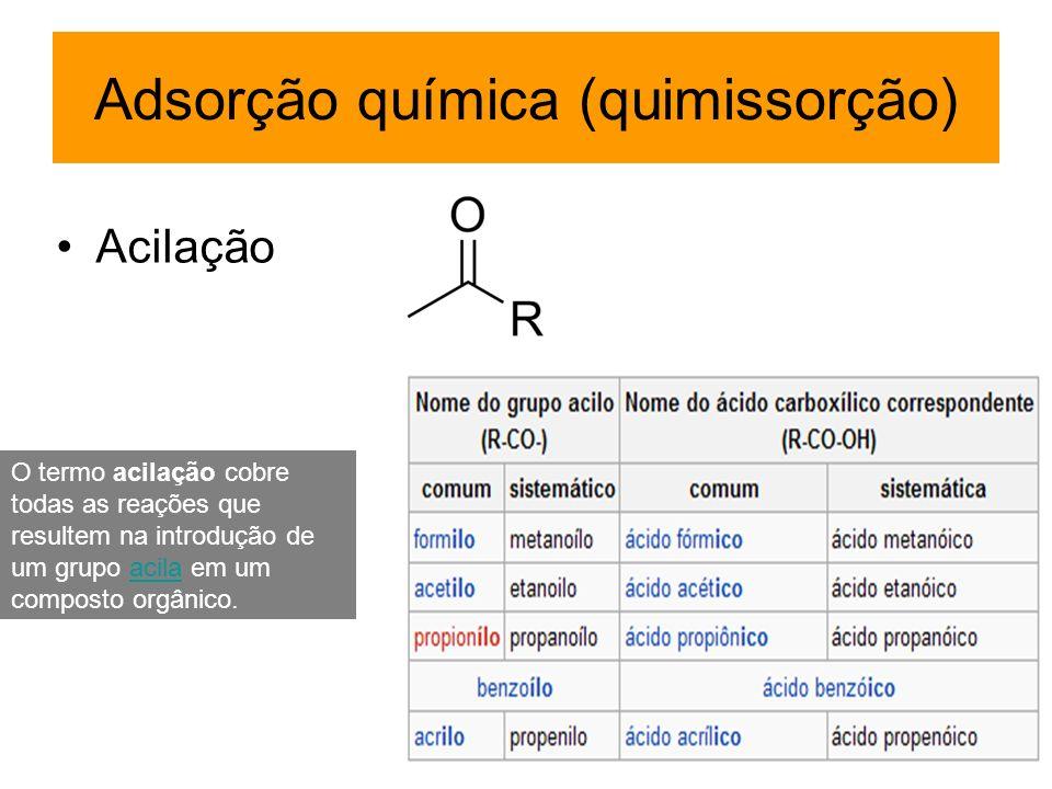 Adsorção química (quimissorção) Acilação O termo acilação cobre todas as reações que resultem na introdução de um grupo acila em um composto orgânico.