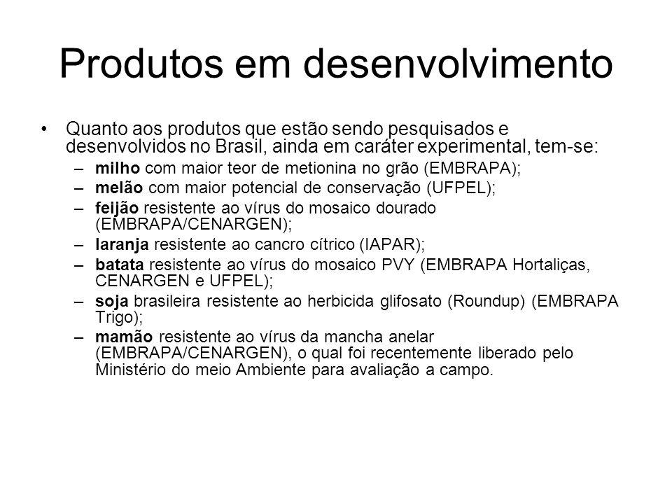 Produtos em desenvolvimento Quanto aos produtos que estão sendo pesquisados e desenvolvidos no Brasil, ainda em caráter experimental, tem-se: –milho c