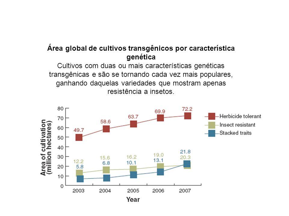 Área global de cultivos transgênicos por característica genética Cultivos com duas ou mais características genéticas transgênicas e são se tornando ca