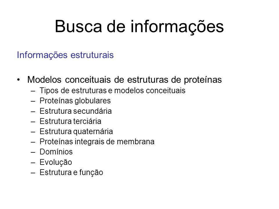 Busca de informações Informações estruturais Modelos conceituais de estruturas de proteínas –Tipos de estruturas e modelos conceituais –Proteínas glob