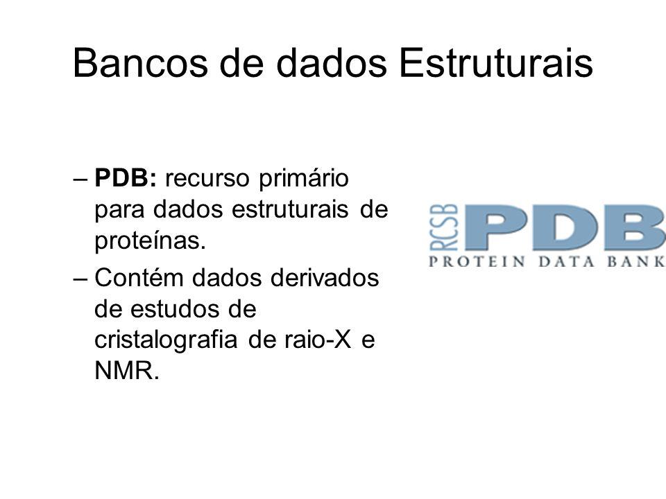 Bancos de dados Estruturais –PDB: recurso primário para dados estruturais de proteínas. –Contém dados derivados de estudos de cristalografia de raio-X
