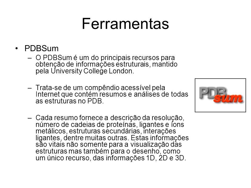 Ferramentas PDBSum –O PDBSum é um do principais recursos para obtenção de informações estruturais, mantido pela University College London. –Trata-se d