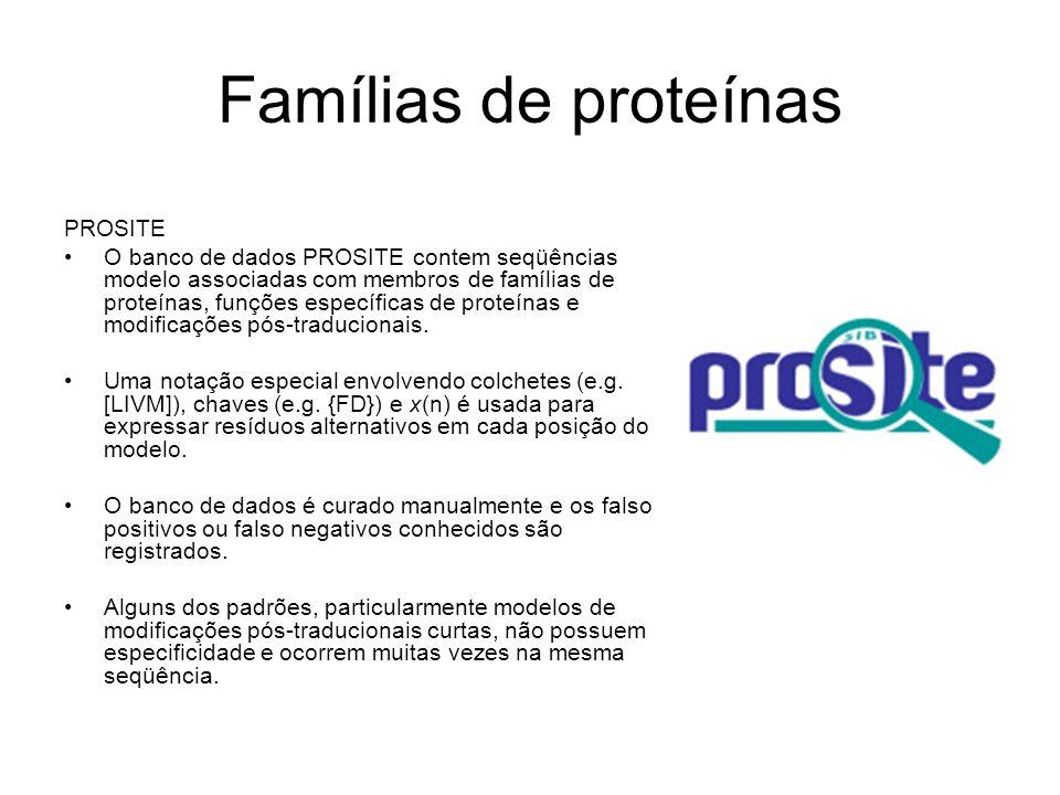 Famílias de proteínas PROSITE O banco de dados PROSITE contem seqüências modelo associadas com membros de famílias de proteínas, funções específicas d
