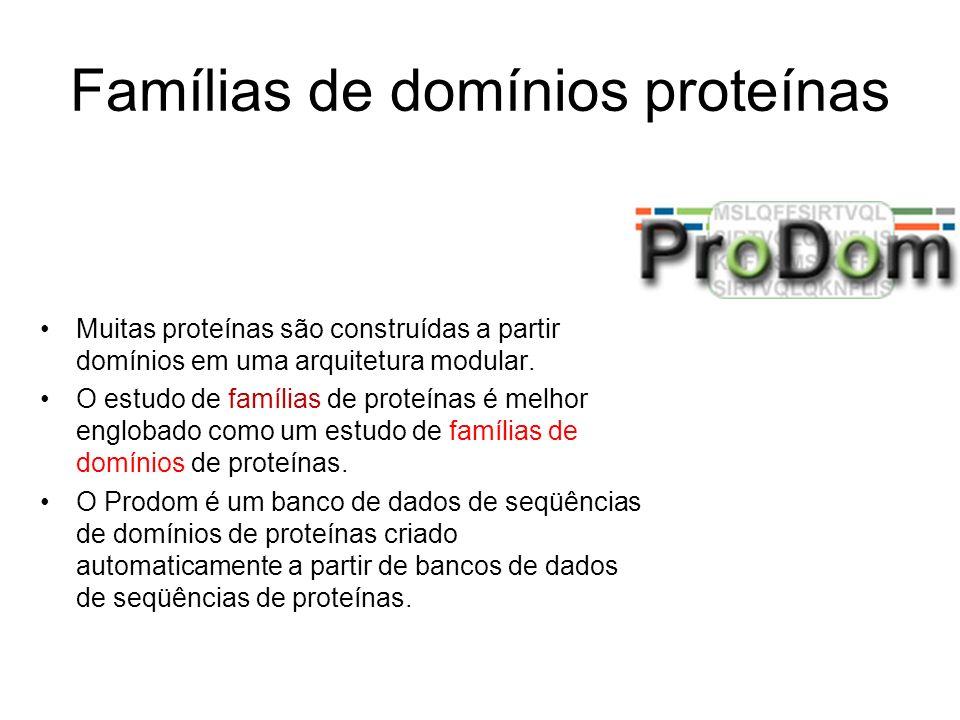Famílias de domínios proteínas Muitas proteínas são construídas a partir domínios em uma arquitetura modular. O estudo de famílias de proteínas é melh