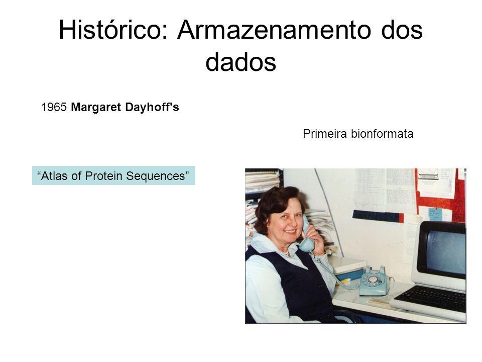 Histórico: Armazenamento dos dados Atlas of Protein Sequences 1965 Margaret Dayhoff's Primeira bionformata