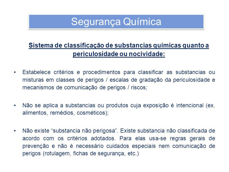 Sistema de classificação de substancias químicas quanto a periculosidade ou nocividade: Estabelece critérios e procedimentos para classificar as subst