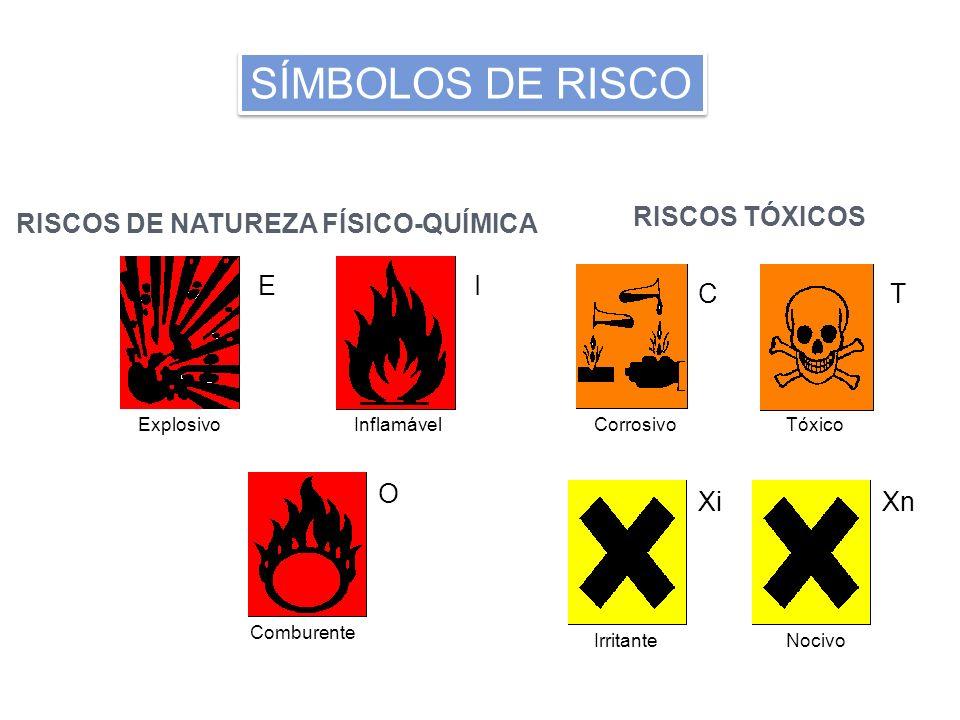 RISCOS DE NATUREZA FÍSICO-QUÍMICA RISCOS TÓXICOS ExplosivoInflamável Comburente CorrosivoTóxico IrritanteNocivo EI O CT XiXn SÍMBOLOS DE RISCO