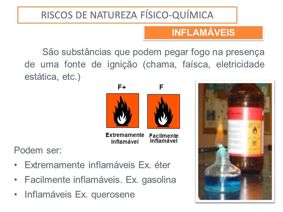 São substâncias que podem pegar fogo na presença de uma fonte de ignição (chama, faísca, eletricidade estática, etc.) Podem ser: Extremamente inflamáv