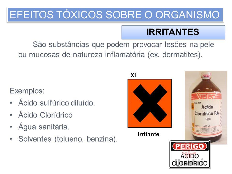 São substâncias que podem provocar lesões na pele ou mucosas de natureza inflamatória (ex. dermatites). Exemplos: Ácido sulfúrico diluído. Ácido Clorí