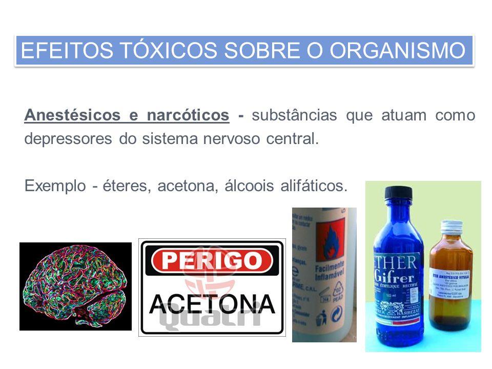 Anestésicos e narcóticos - substâncias que atuam como depressores do sistema nervoso central. Exemplo - éteres, acetona, álcoois alifáticos.