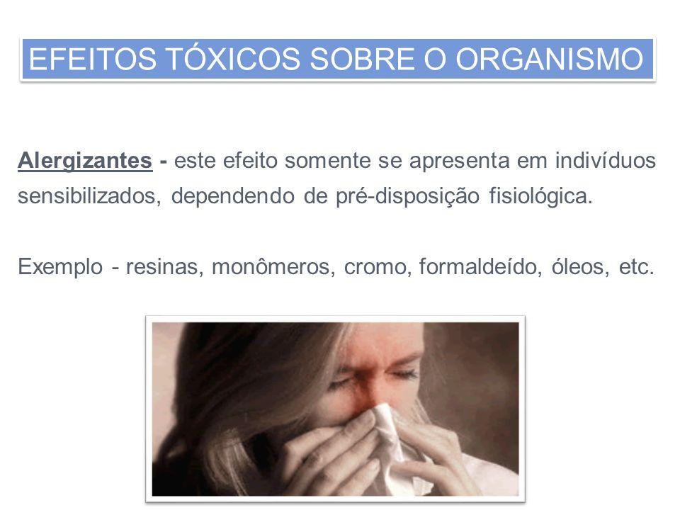 Alergizantes - este efeito somente se apresenta em indivíduos sensibilizados, dependendo de pré-disposição fisiológica. Exemplo - resinas, monômeros,