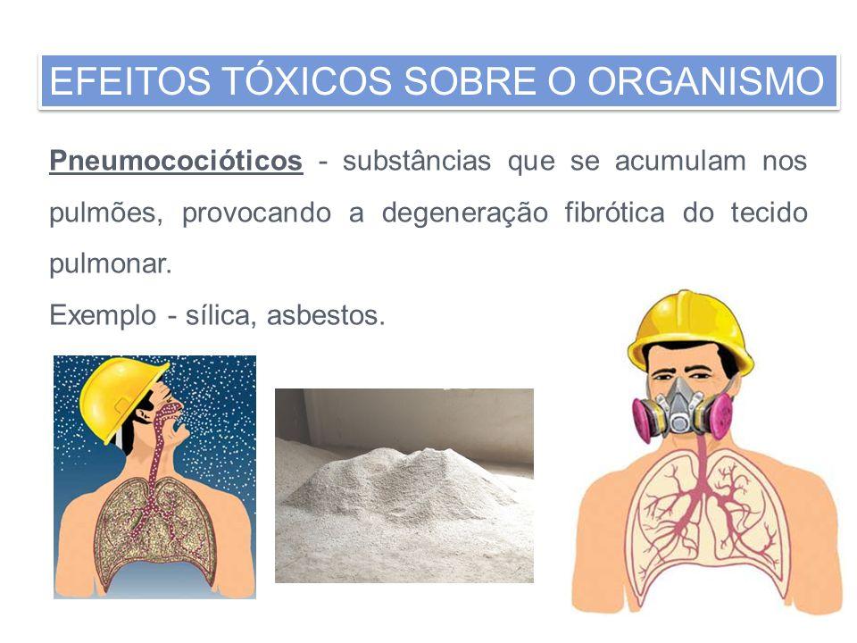 Pneumococióticos - substâncias que se acumulam nos pulmões, provocando a degeneração fibrótica do tecido pulmonar. Exemplo - sílica, asbestos. EFEITOS