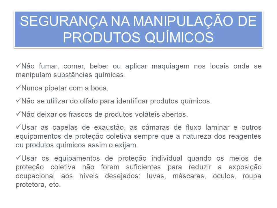 SEGURANÇA NA MANIPULAÇÃO DE PRODUTOS QUÍMICOS SEGURANÇA NA MANIPULAÇÃO DE PRODUTOS QUÍMICOS Não fumar, comer, beber ou aplicar maquiagem nos locais on