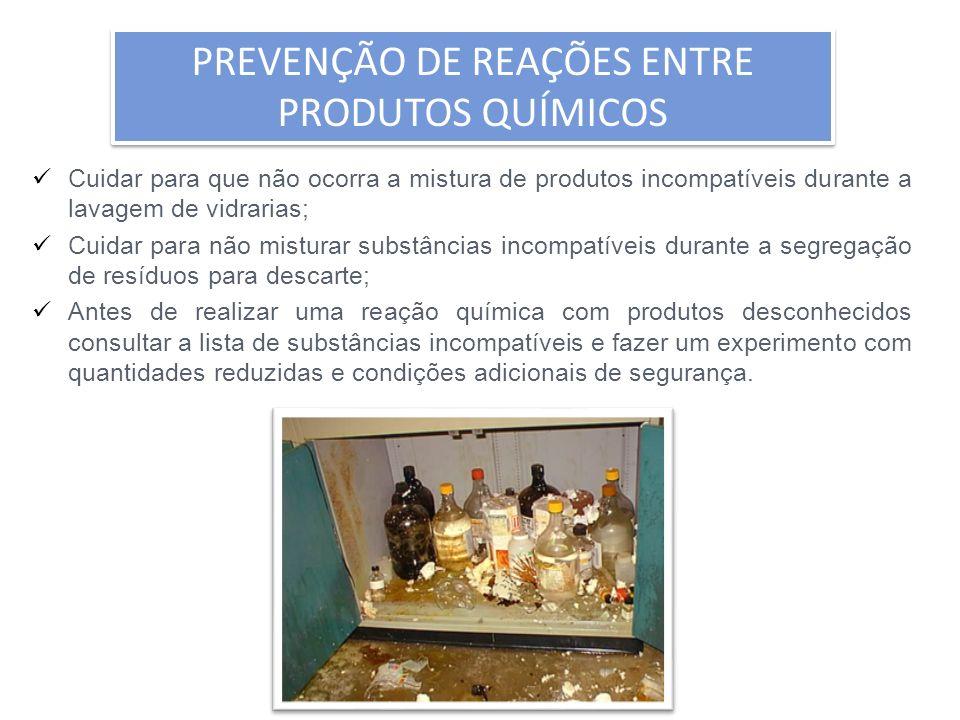 Cuidar para que não ocorra a mistura de produtos incompatíveis durante a lavagem de vidrarias; Cuidar para não misturar substâncias incompatíveis dura