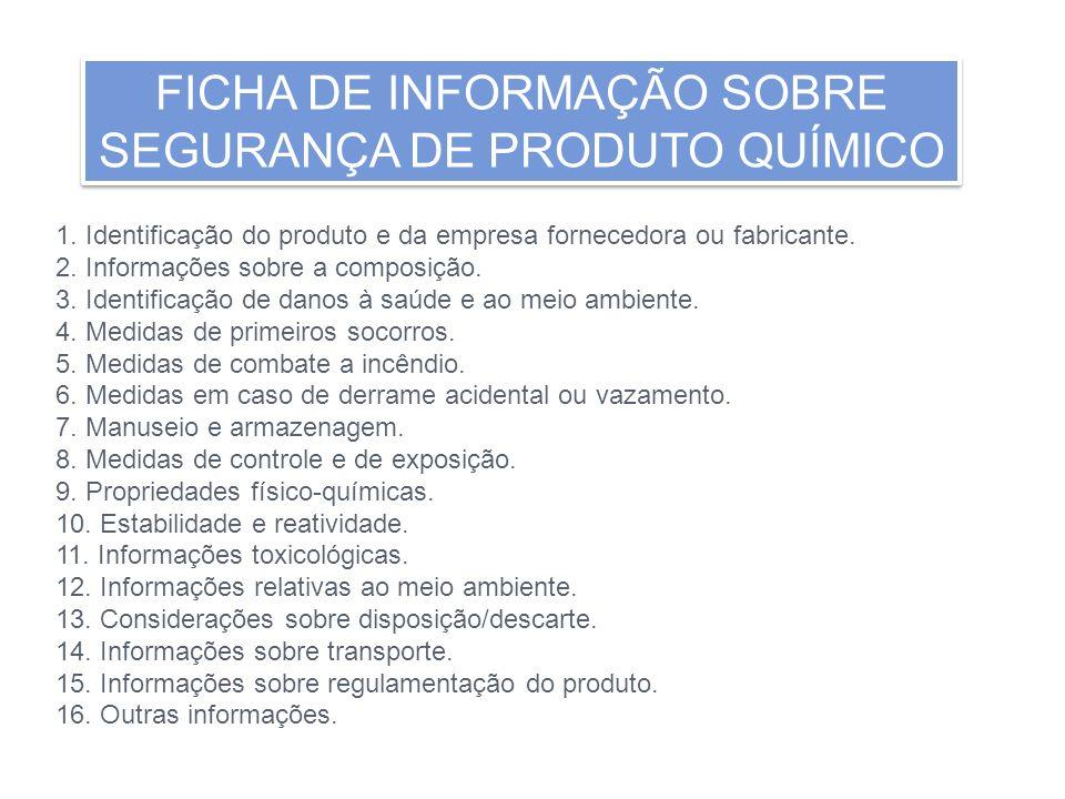 FICHA DE INFORMAÇÃO SOBRE SEGURANÇA DE PRODUTO QUÍMICO FICHA DE INFORMAÇÃO SOBRE SEGURANÇA DE PRODUTO QUÍMICO 1. Identificação do produto e da empresa