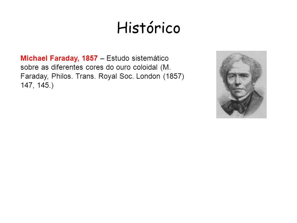 Michael Faraday, 1857 – Estudo sistemático sobre as diferentes cores do ouro coloidal (M. Faraday, Philos. Trans. Royal Soc. London (1857) 147, 145.)
