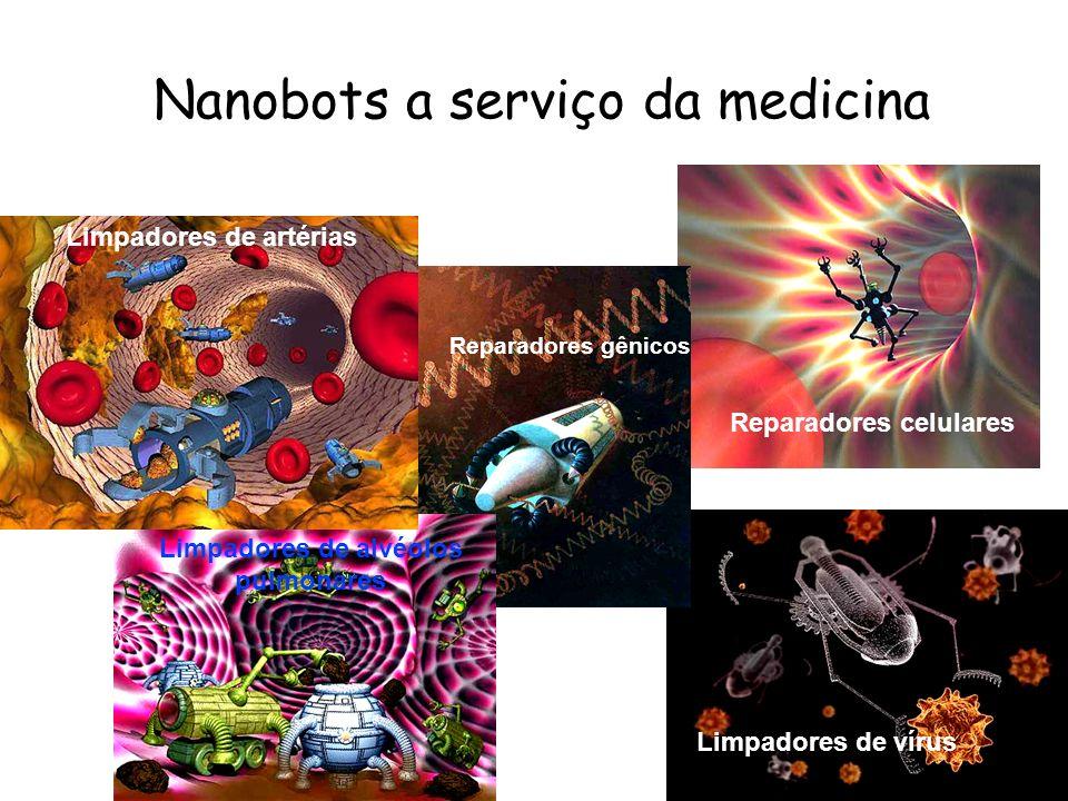 Nanobots a serviço da medicina Reparadores celulares Limpadores de vírus Reparadores gênicos Limpadores de alvéolos pulmonares Acelerador de neurônio
