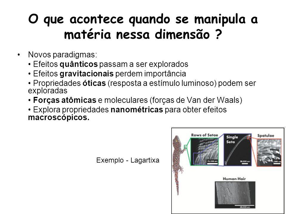 O que acontece quando se manipula a matéria nessa dimensão ? Novos paradigmas: Efeitos quânticos passam a ser explorados Efeitos gravitacionais perdem