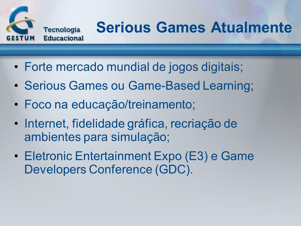 Serious Games Atualmente Forte mercado mundial de jogos digitais; Serious Games ou Game-Based Learning; Foco na educação/treinamento; Internet, fideli