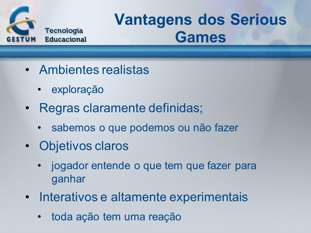 Vantagens dos Serious Games Ambientes realistas exploração Regras claramente definidas; sabemos o que podemos ou não fazer Objetivos claros jogador en