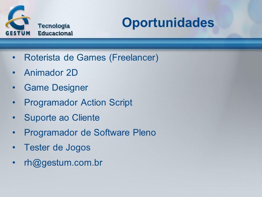 Oportunidades Roterista de Games (Freelancer) Animador 2D Game Designer Programador Action Script Suporte ao Cliente Programador de Software Pleno Tes