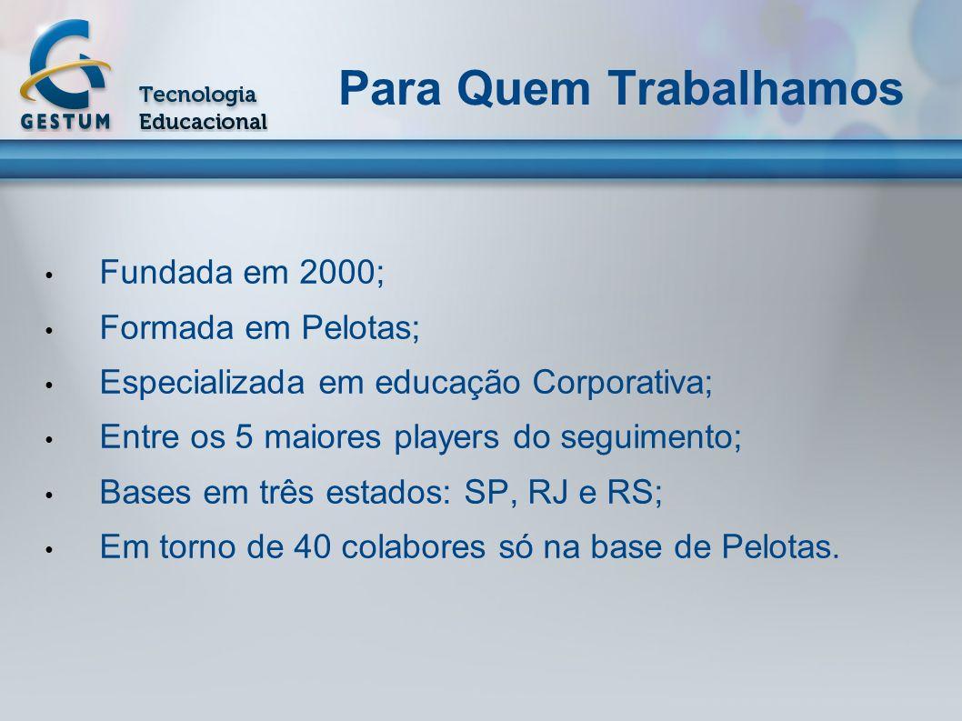 Para Quem Trabalhamos Fundada em 2000; Formada em Pelotas; Especializada em educação Corporativa; Entre os 5 maiores players do seguimento; Bases em t