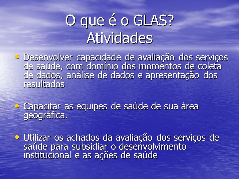 O que é o GLAS? Atividades Desenvolver capacidade de avaliação dos serviços de saúde, com domínio dos momentos de coleta de dados, análise de dados e