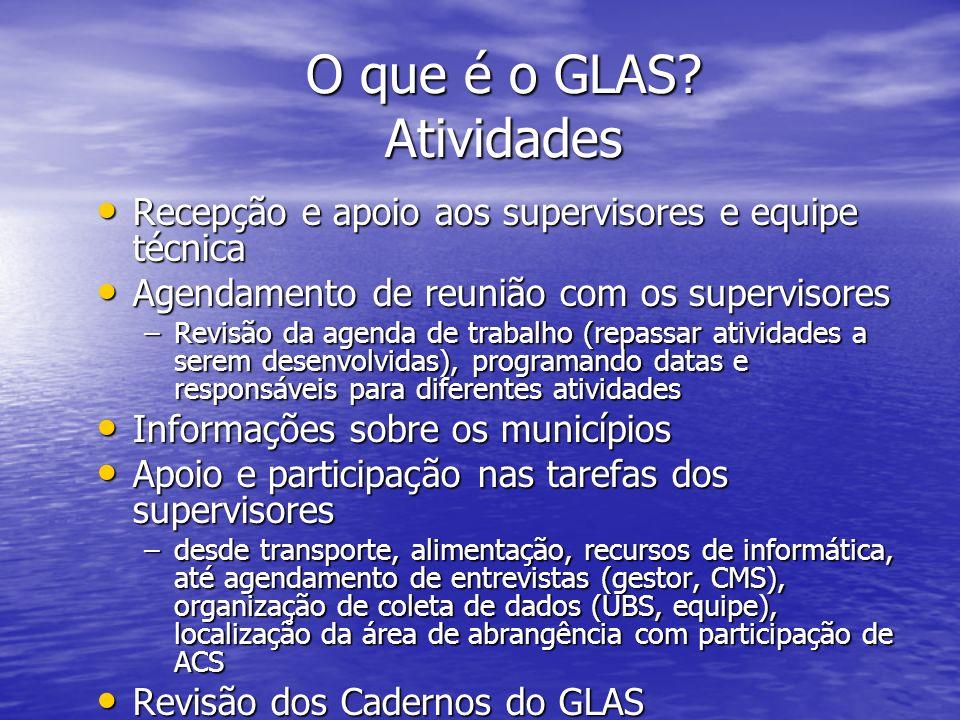 O que é o GLAS? Atividades Recepção e apoio aos supervisores e equipe técnica Recepção e apoio aos supervisores e equipe técnica Agendamento de reuniã