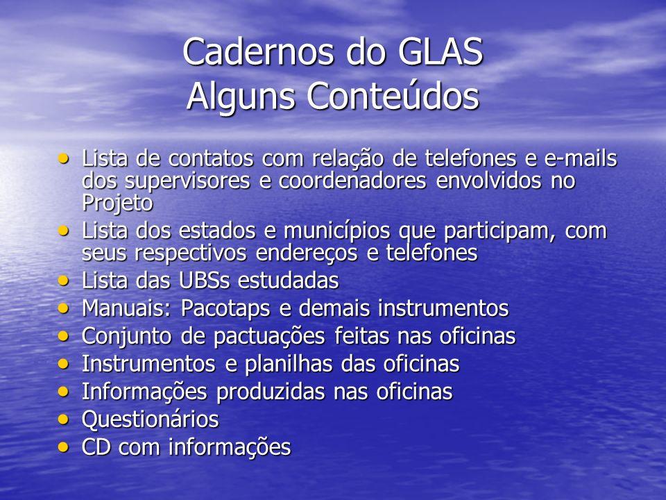 Cadernos do GLAS Alguns Conteúdos Lista de contatos com relação de telefones e e-mails dos supervisores e coordenadores envolvidos no Projeto Lista de
