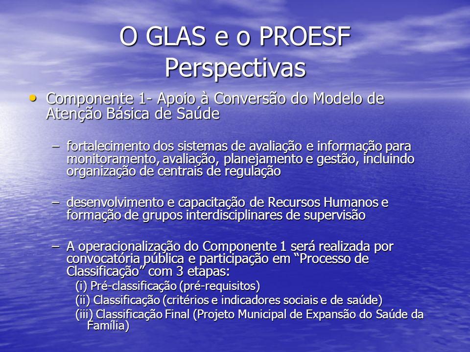 O GLAS e o PROESF Perspectivas Componente 1- Apoio à Conversão do Modelo de Atenção Básica de Saúde Componente 1- Apoio à Conversão do Modelo de Atenç