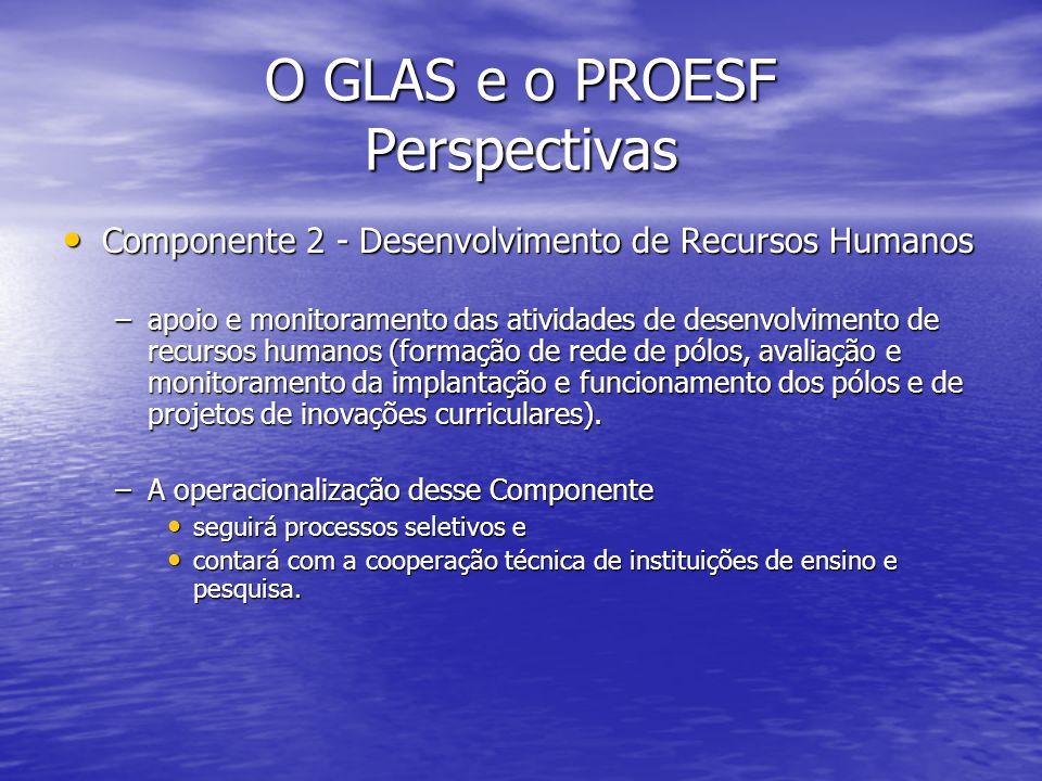 O GLAS e o PROESF Perspectivas Componente 2 - Desenvolvimento de Recursos Humanos Componente 2 - Desenvolvimento de Recursos Humanos –apoio e monitora