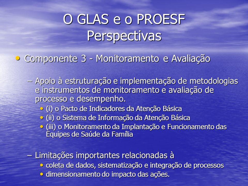 O GLAS e o PROESF Perspectivas Componente 3 - Monitoramento e Avaliação Componente 3 - Monitoramento e Avaliação –Apoio à estruturação e implementação