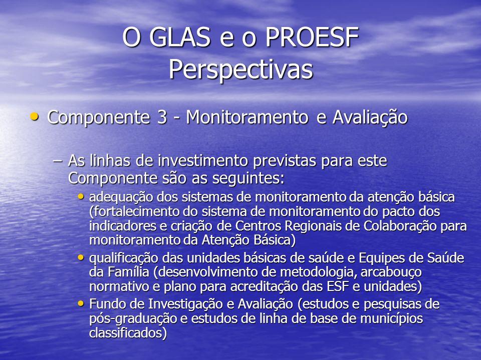O GLAS e o PROESF Perspectivas Componente 3 - Monitoramento e Avaliação Componente 3 - Monitoramento e Avaliação –As linhas de investimento previstas