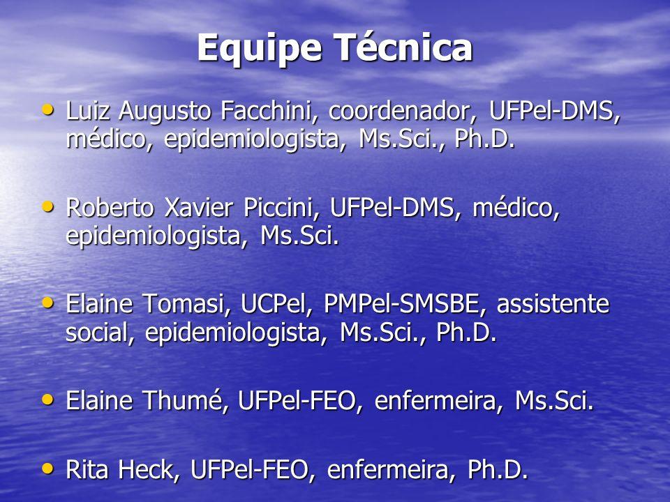 Equipe Técnica Luiz Augusto Facchini, coordenador, UFPel-DMS, médico, epidemiologista, Ms.Sci., Ph.D. Luiz Augusto Facchini, coordenador, UFPel-DMS, m