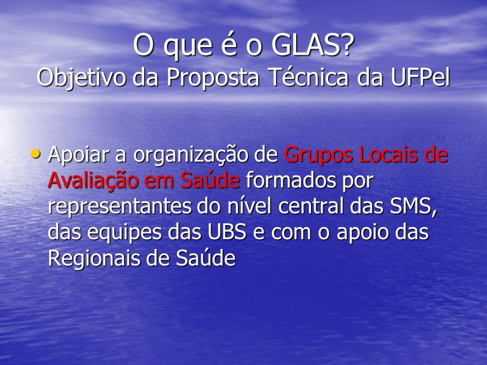 O que é o GLAS? Objetivo da Proposta Técnica da UFPel Apoiar a organização de Grupos Locais de Avaliação em Saúde formados por representantes do nível