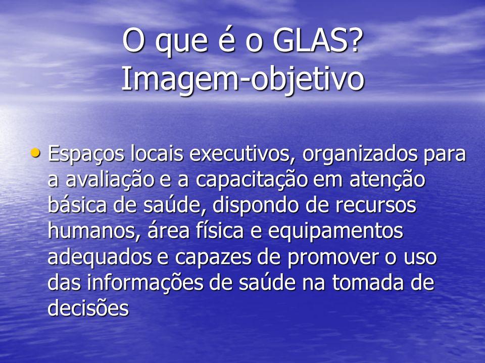 O que é o GLAS? Imagem-objetivo Espaços locais executivos, organizados para a avaliação e a capacitação em atenção básica de saúde, dispondo de recurs