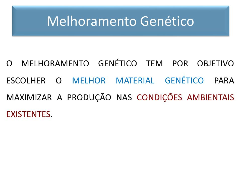 MAIOR PRODUTIVIDADE = MELHORAMENTO GENÉTICO Ilimitado e Permanente + MELHORAMENTO AMBIENTAL (sanidade, manejo, alimentação) Limitado eTemporário Melhoramento Genético X Ambiental