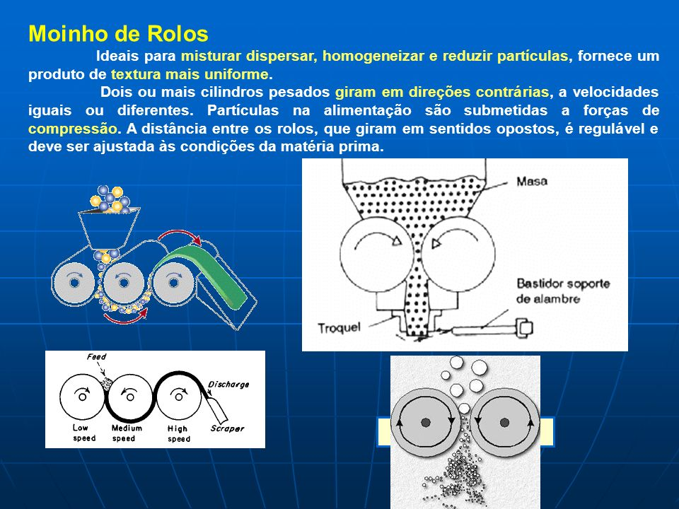 Moinho de Rolos Ideais para misturar dispersar, homogeneizar e reduzir partículas, fornece um produto de textura mais uniforme. Dois ou mais cilindros