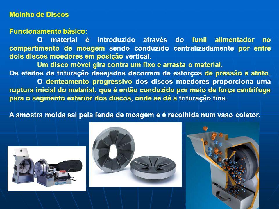 Moinho de Discos Funcionamento básico: O material é introduzido através do funil alimentador no compartimento de moagem sendo conduzido centralizadame