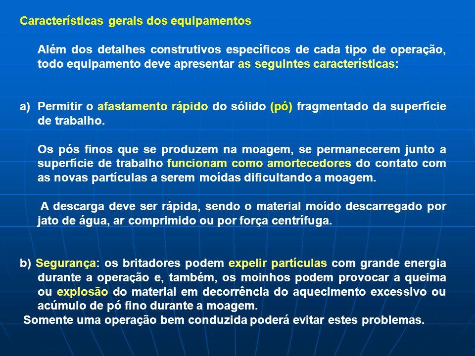 Classificação dos equipamentos A classificação: È feita a partir do TAMANHO DAS PARTÍCULAS DA ALIMENTAÇÃO E DO PRODUTO.